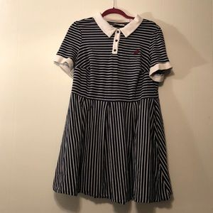 Blue/White Striped Pointed Collar A-Line Plus Size